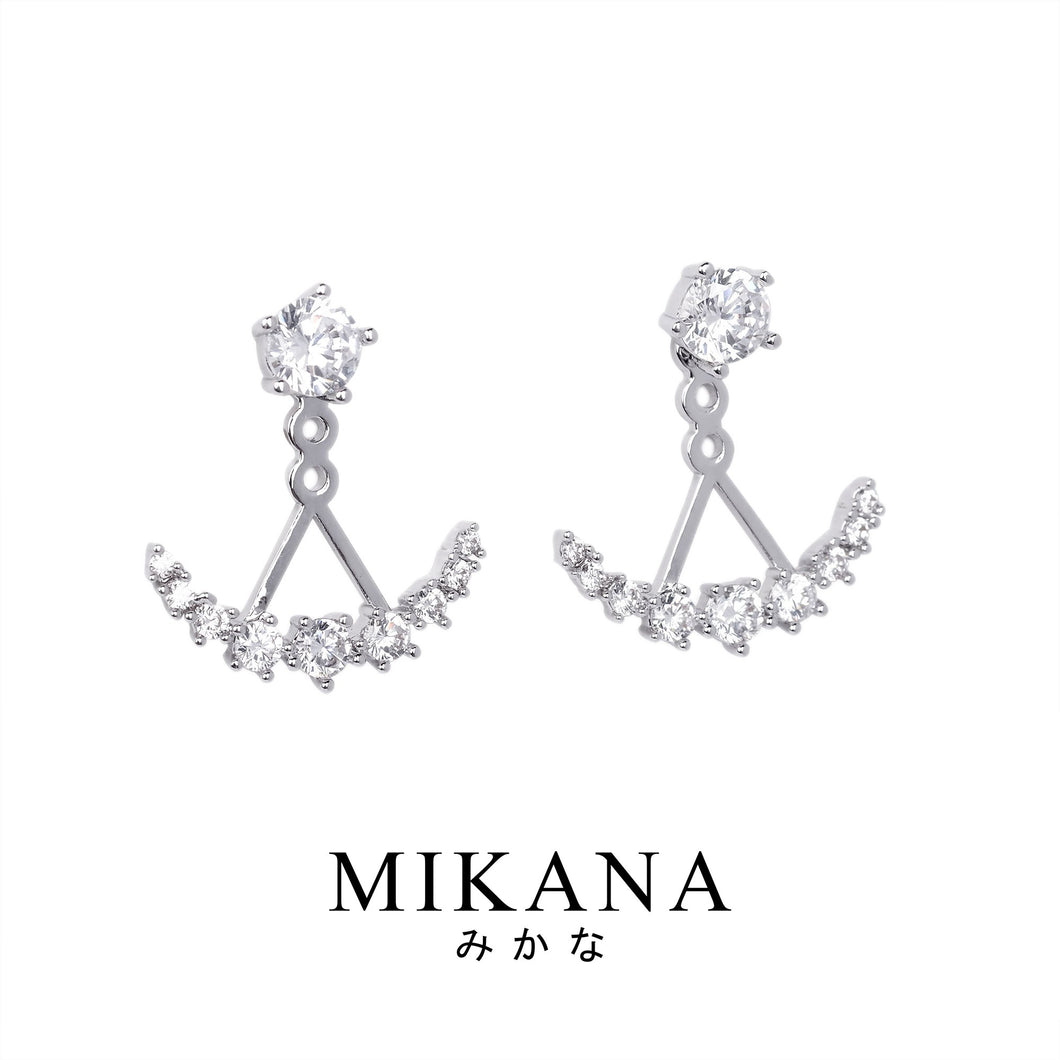 Mikana CLOY 14k White Gold Plated Jitsugetsu Stud Earrings accessories for women