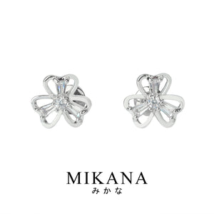 Mikana 14k White Gold Plated Kotori Stud Earrings accessories for women