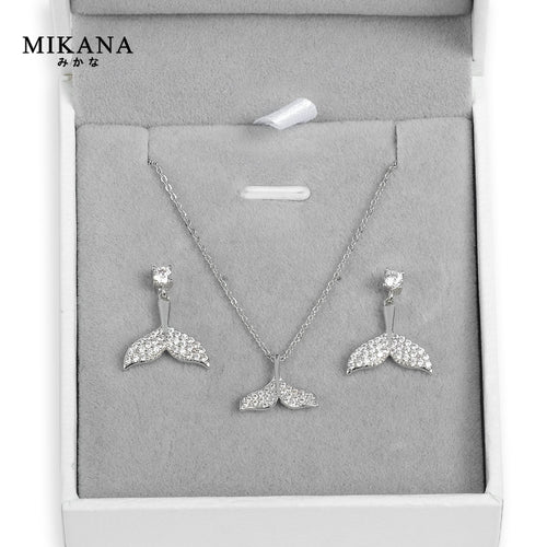 Mikana 14k White Gold Plated Mermaid Tail Jewelry Set accessories for women