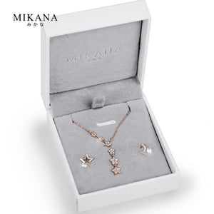 Mikana 18k Rose Gold Plated Wishing Star Jewelry Set Accessories For Women