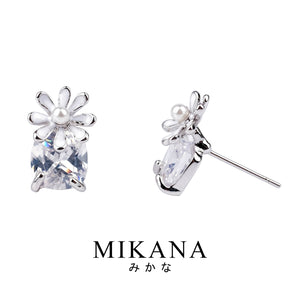 Mikana 18k White Gold Plated Chisato Fleur Stud Earrings accessories for women