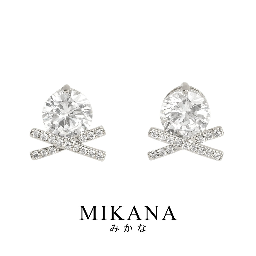 Mikana 14k White Gold Plated Yukiwa Stud Earrings accessories for women