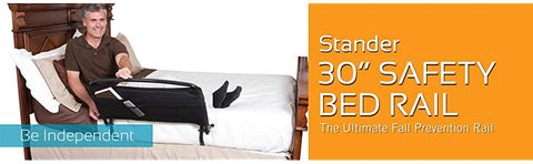 "Stander 30"" Safety Adult Bed Rail & Padded Pouch- Home Elderly Bedside Safety Rail + Swing Down Assist Handle"