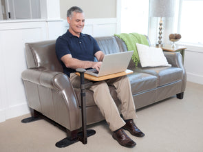 Stander Omni Tray Table - Swivel Bamboo TV Tray Table & Support Mobility Handle & Daily Standing Support Aid
