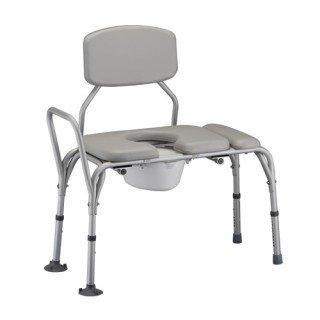 Nova Medical Padded Transfer Bench/Commode with Detachable Back