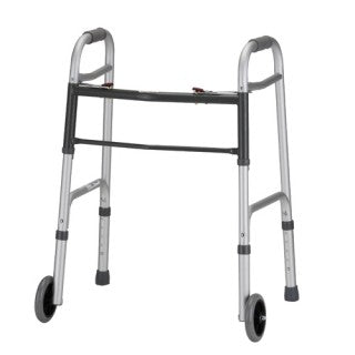 "Nova Medical 2-Button Folding Walker with 5"" Wheels - Small Adult 4090YW5"