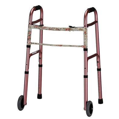 Nova Medical Deluxe 2 Button Folding Walker with 5″ Wheels 4080RW5