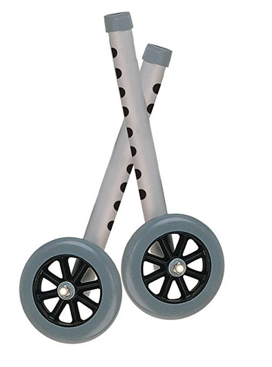 "Drive Medical 5"" Walker Wheels with Two Sets of Rear Glides for Use with Universal Walker"