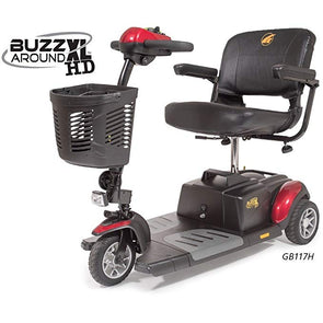 Golden Technologies Buzzaround XLHD 3 Wheel Travel Scooter-Red