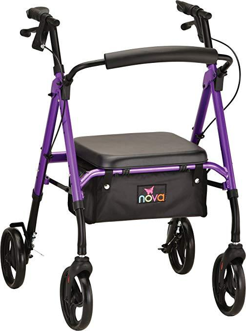 Nova Medical Star 8 Lightweight Rollators with Quick-Fit Push-Button Adjustable Height