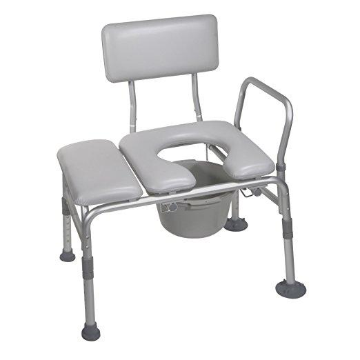 Drive Medical Combination Padded Seat Transfer Bench with Commode Opening - Gray