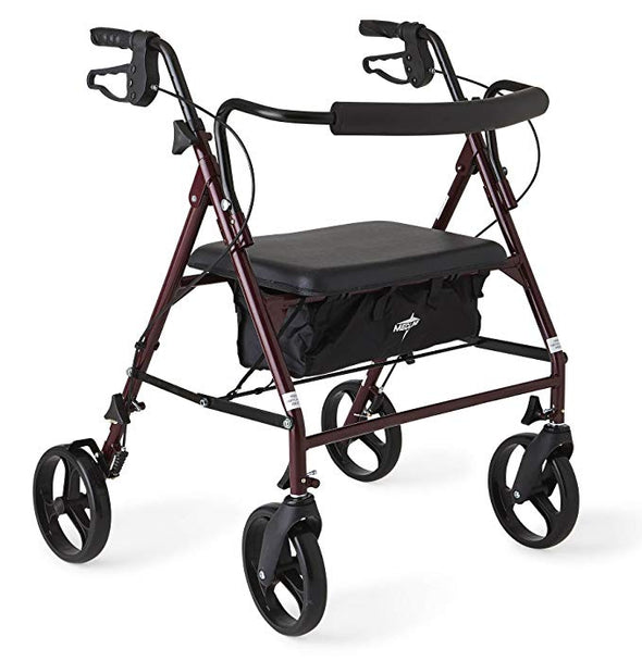 "Medline Heavy Duty Bariatric Mobility Rollator 8"" Wheels MDS86800XWS"