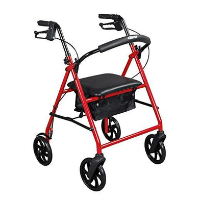 Drive Medical Steel Walker Rollator with 8 Inch Wheels