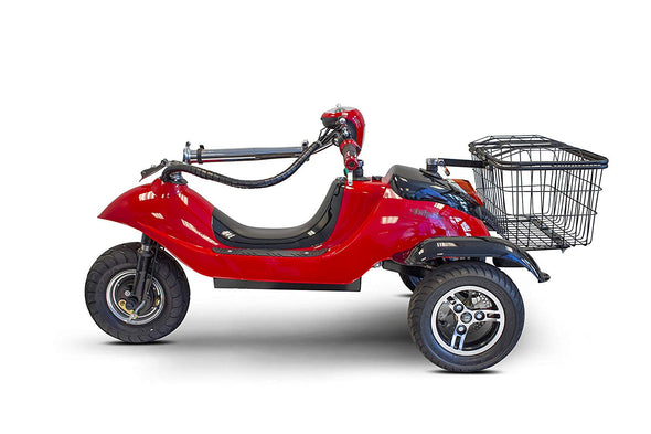 EWheels Sporty Folding Electric 3 Wheeled Scooter with Rear Basket – 15 MPH EW 19