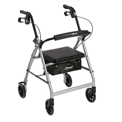 "Drive Medical Rollator Rolling Walker with 6"" Wheels, Fold Up Removable Back Support & Padded Seat"
