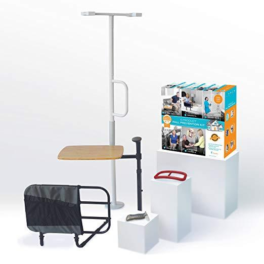 Stander 5 Piece Fall Prevention Kit - All in one Kit Includes Extendable Bed Rail, Chair Handle & Swivel Tray Table, Tension Mounted Grab Bar, Auto Grab Bar & Standing Handle 1200