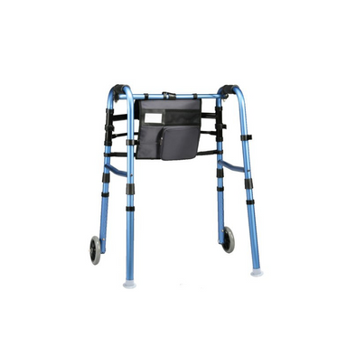 "Carex Explorer Folding Walker with 5"" Wheels, Glides, and Organizer"