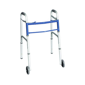 Carex Classics 2-Button Folding Walker with Wheels A87977