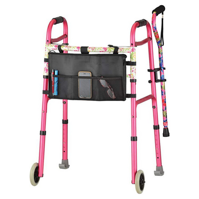 Nova Medical Designer Folding Walker Package with Cane and Accessories 4080RA