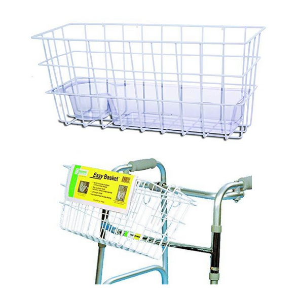 Essential Medical Supply Wire Basket with Tray for Folding Walkers