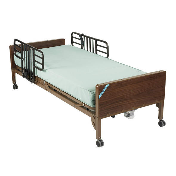 Drive Medical Delta Ultra Light Full Electric Low Hospital Bed with Half Rails and Innerspring Mattress