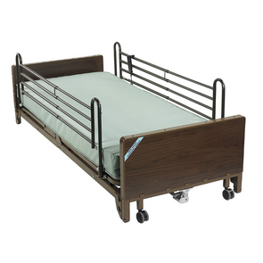 Drive Medical Delta Ultra Light Full Electric Low Hospital Bed with Full Rails and Foam Mattress