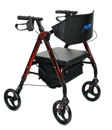 "MOBB Healthcare Aluminum Lightweight Rollators With Backrest - 8"" Wheels Red"