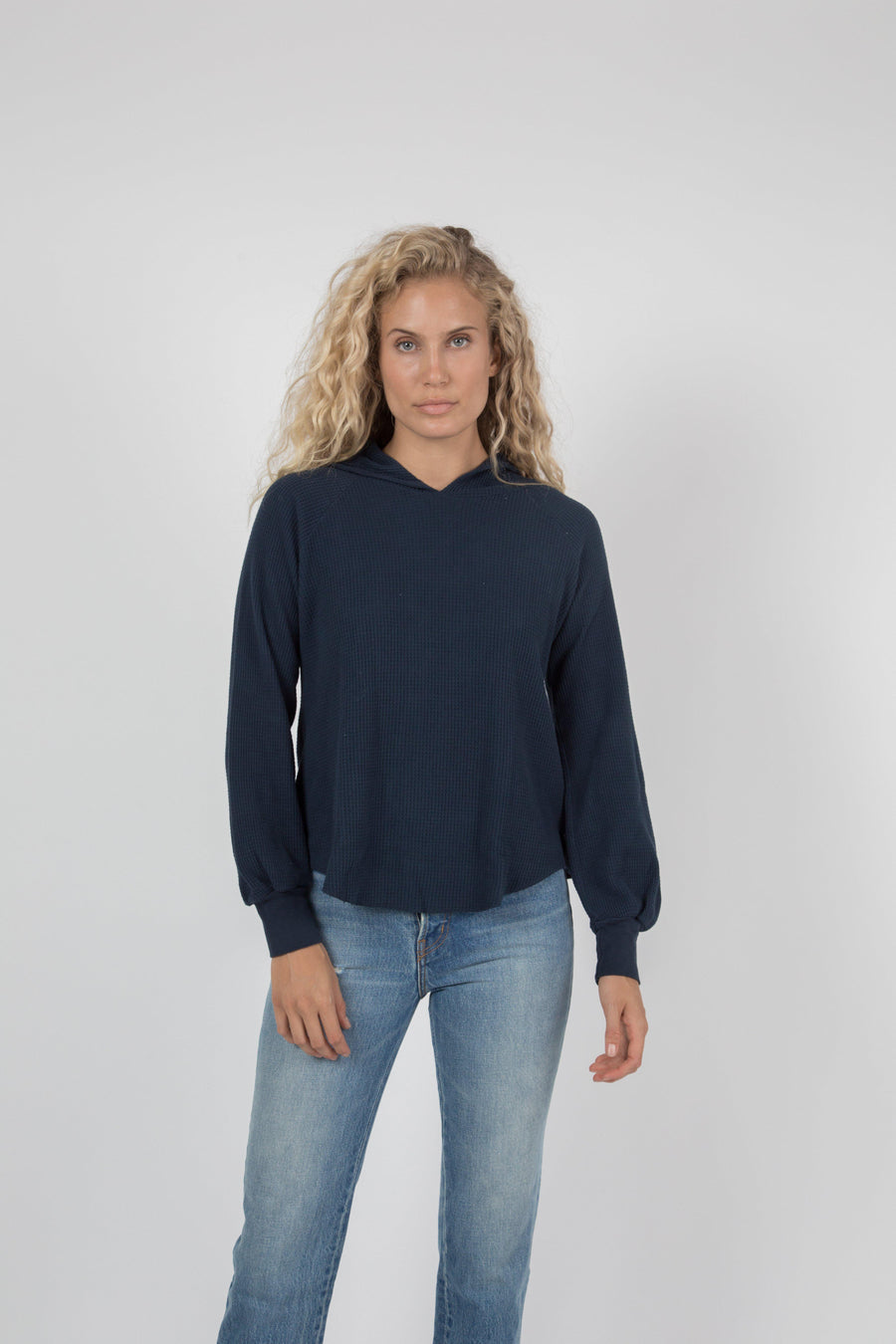 Napped Thermal Hoodie - Navy