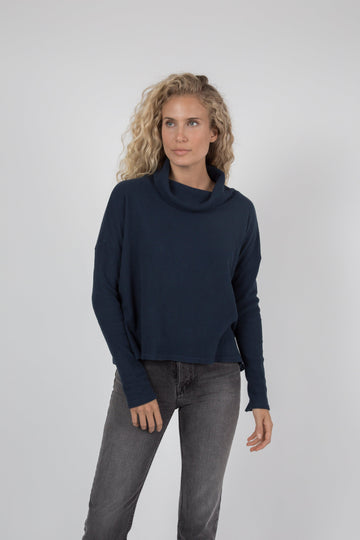 Napped Thermal Turtleneck - Navy