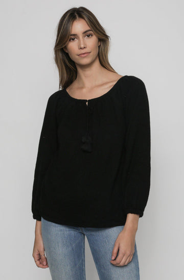 Peasant Sweater - Black