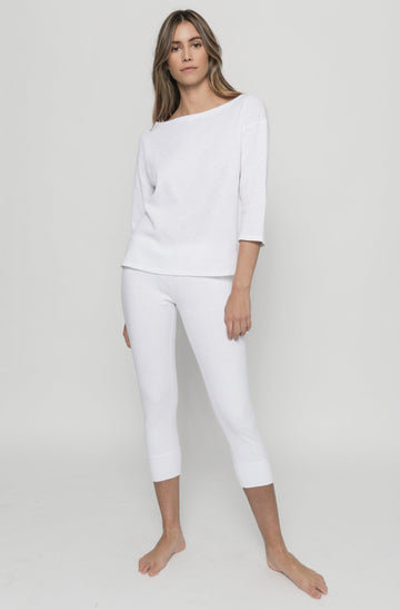 Easy Cropped Legging - White