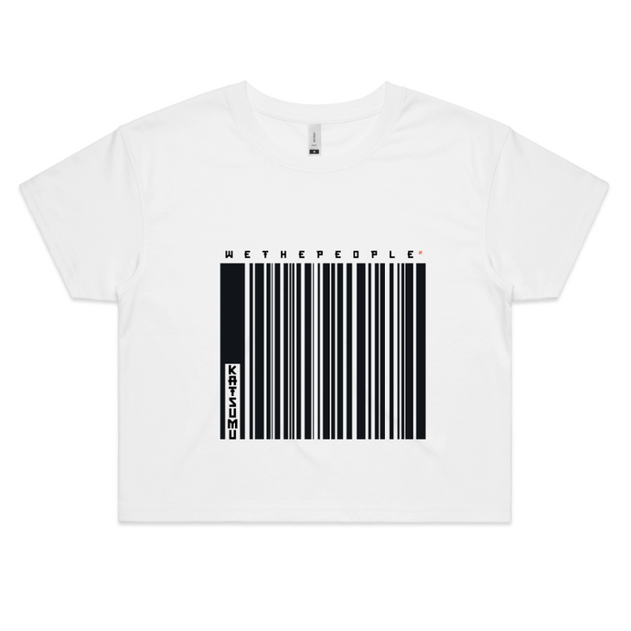 Katsumu: We The People of Barcodes Semi-Crop T (White) - Katsumu
