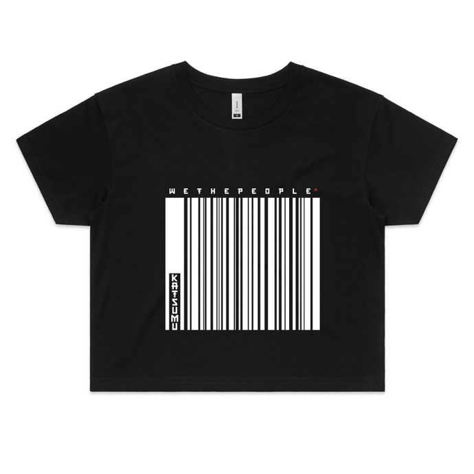 Katsumu: We The People of Barcodes Semi-Crop T (Black) - Katsumu