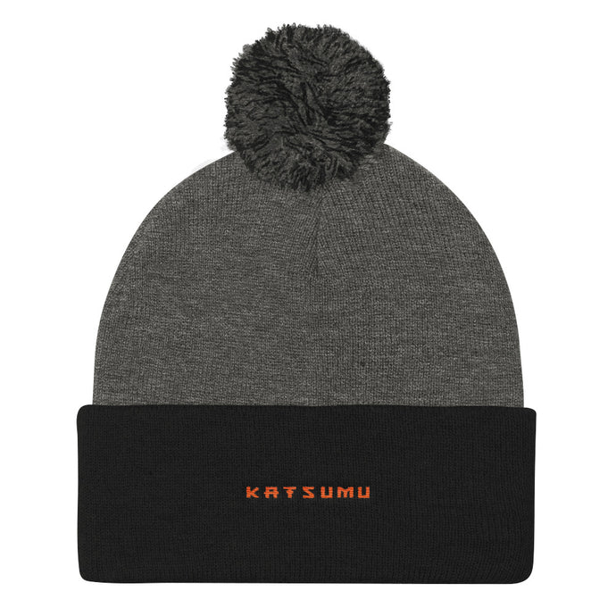 Katsumu: Pom Pom Knit Beanie (Dark Heather Grey/ Black) - Katsumu