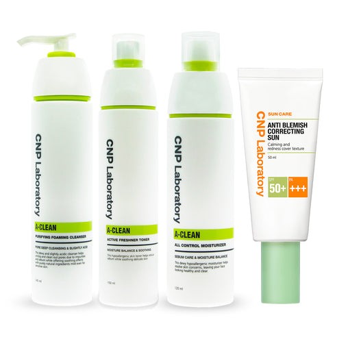 A-Clean Anti-Acne Set: A- Clean Purifying Foaming Cleanser + Toner + Moisturizer + Anti-Blem Correcting Sun
