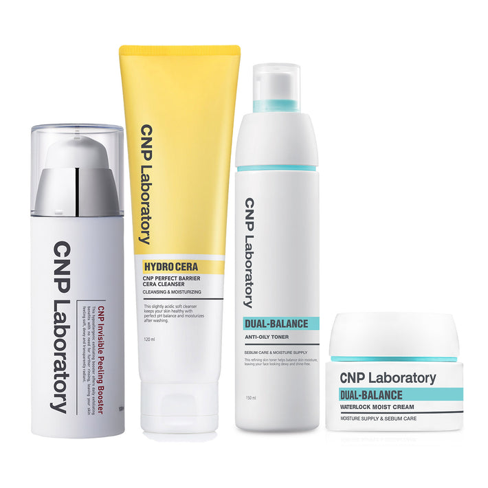 Dual-Balance Clarity Set: Invisible Peeling Booster + Hydro Cera Perfect Barrier Cleanser + Dual-Bal Toner + Dual-Bal Moist Cream
