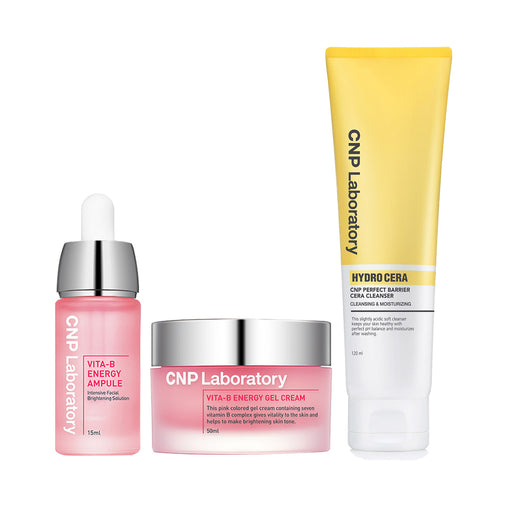 Vita-B In the Pink Set: Vita-B Energy Ampule + Vita-B Energy Gel Cream + Hydro Cera Perfect Barrier Cleanser