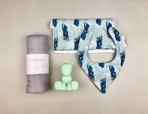 Blue Cockatoo with muslin wrap | Baby gift set