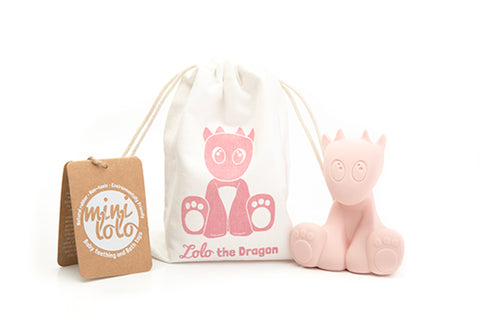 Baby Pink Lolo the Dragon Teething and Bath Toy with Pouch