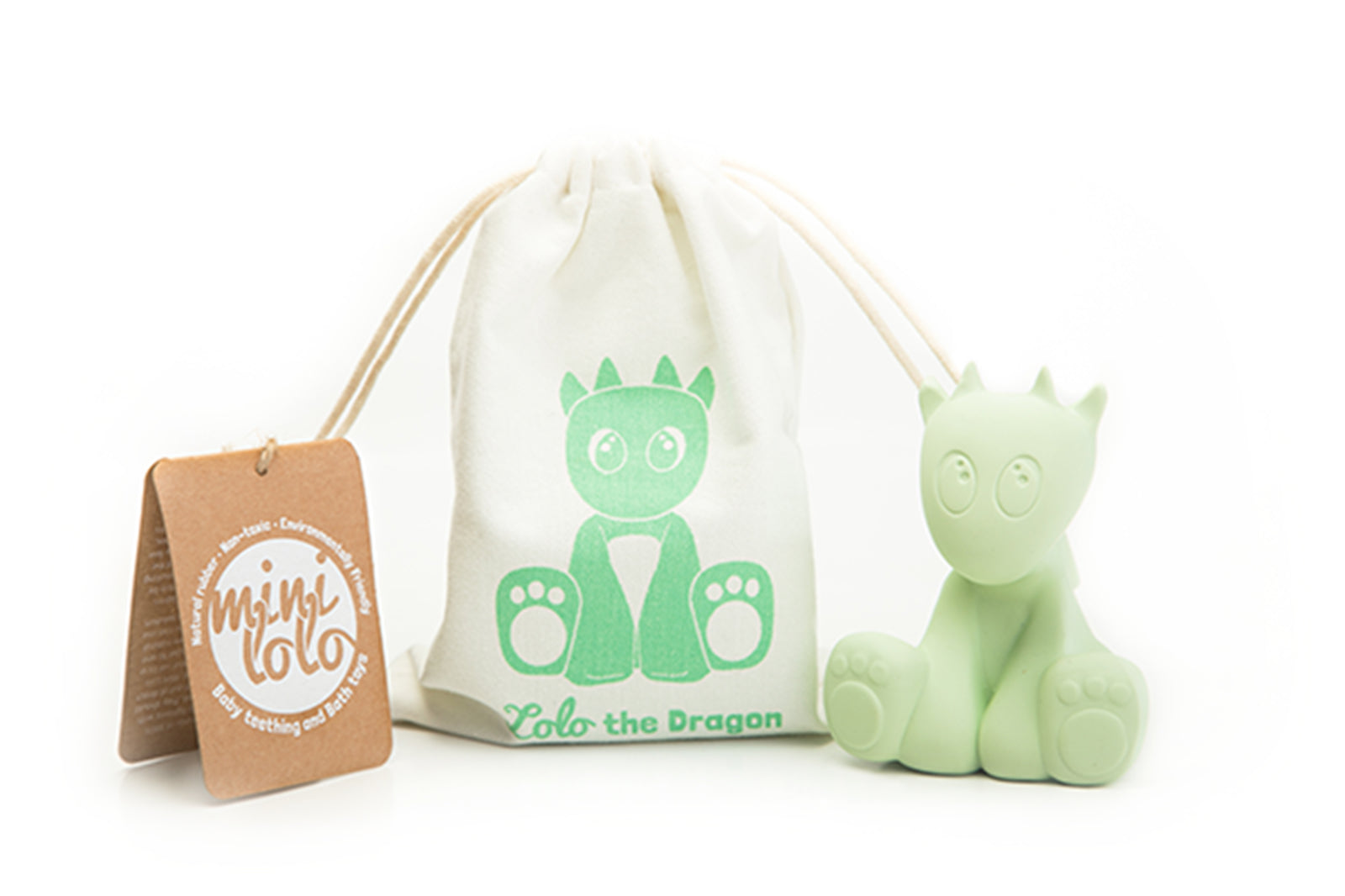 Mint Green Lolo the Dragon Teething and Bath Toy with Pouch