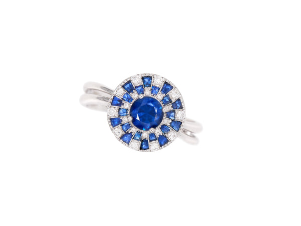 Sapphire & Diamond Checkerboard Ring