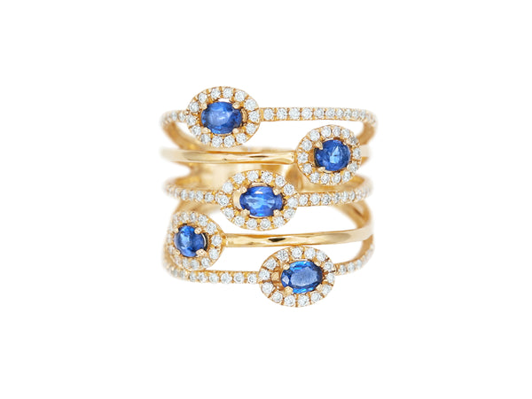 Five Row Sapphire & Diamond Ring