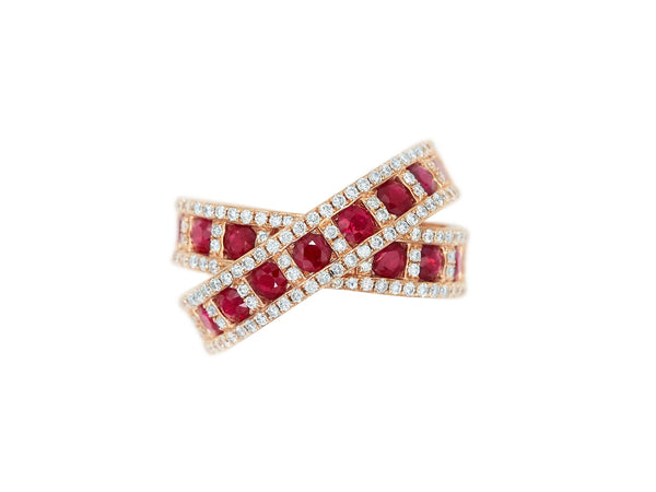Ruby & Diamond X Ring