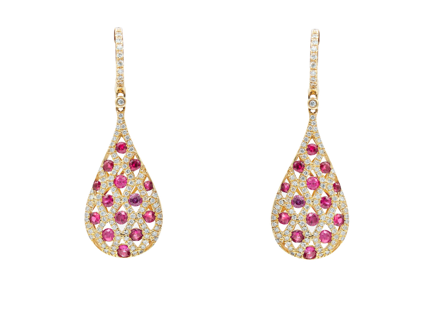 Ruby Diamond Drop Earrings