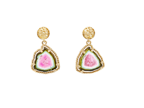 Watermelon Tourmaline Earring