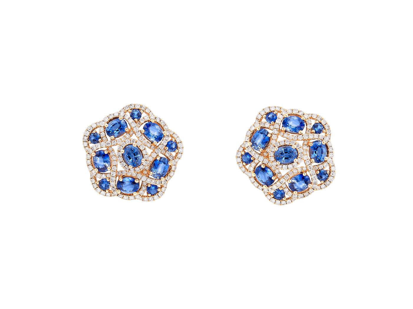 Sapphire & Diamond Rose Gold Earrings