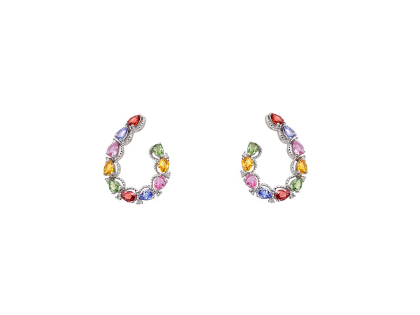 Multi Colored Sapphire Earring