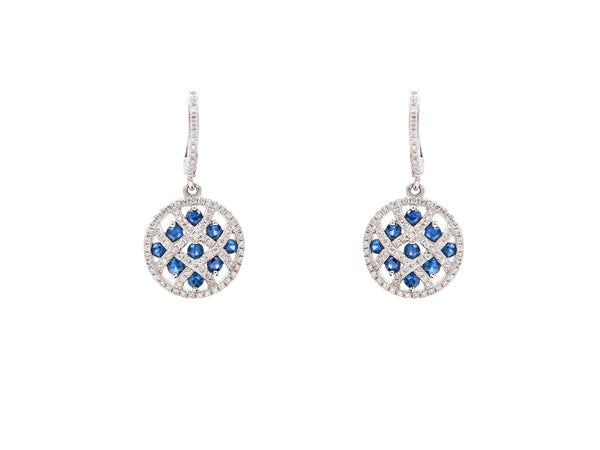 Checkerboard Diamond and Sapphire Drop Earrings