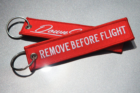 "DS ""Remove Before Flight"" keytag"