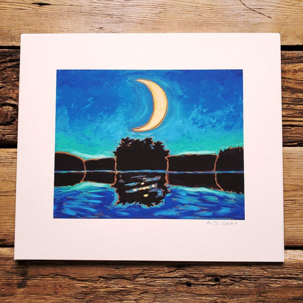 Print, Crescent Moon Over Blueberry Island
